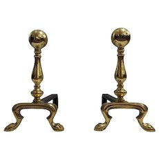 Pair of Late 19th Century Empire Polished Brass and Iron Andirons