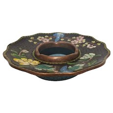 FREE SHIPPING Early 20th Century Chinoiserie Style Ceramic and Glass on Brass Chinese Ashtray