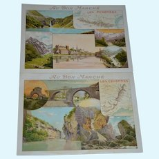 Le bon marche trade card story  2 pieces