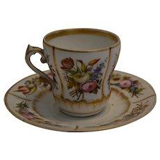 19th century Paris Porcelain cup and saucer