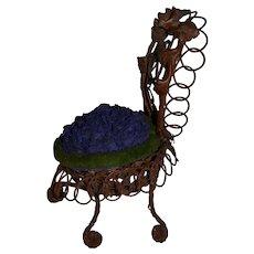 chair shaped pin cushion French folk art 1880
