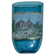 1900 universal exhibition of Paris pocket beaker glass souvenir