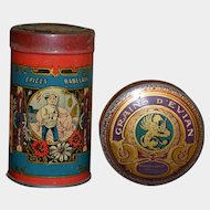 Early 1900 2 French tin box