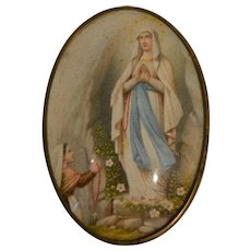 Lovely frame with Mary virgin of Lourdes and St Bernadette circa 1890/1910