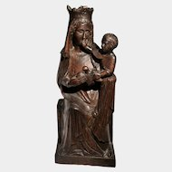 Virgin Mary with Child Jesus Antique Wooden Sculpture French 19th century
