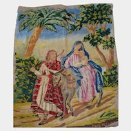 Religious tapestry antique needle work 1870/1880