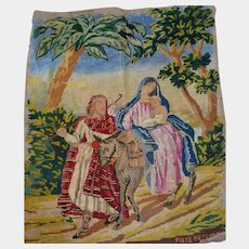 Religious tapestry antique needle work 1870/1880