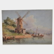 French school 19th  watercolor, windmill and fisherman