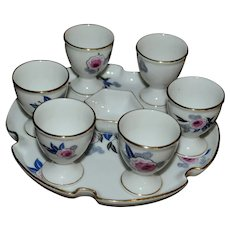 Rare complete set of egg cups art deco from Limoges