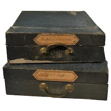 Antique French cardboard filing boxes 1870