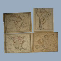 1829 Geographic puzzles , 4 plates engraved with all the antique names