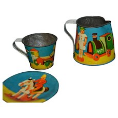 Doll's dishes printed tin with toys