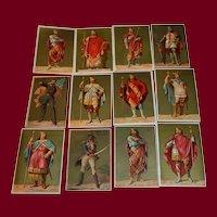 Advertising collection cards, 12 decorative, antique chromo-lithographs
