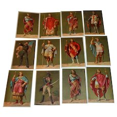 Advertising collection cards, 12 decorative, antique chromo-lithographs