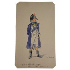 Watercolor seaman  officer from Napoléon guard