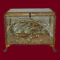 French vitrine Casket with wax wedding crown souvenir inside 1880