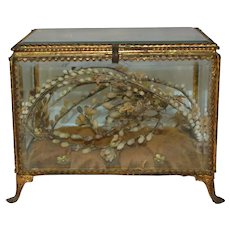 French vitrine Casket with wax wedding crown souvenir inside 1880