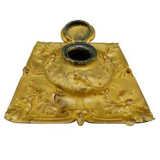 French antique inkwell in gilded bronze with decor of hazelnuts by Guénardeau - Susse Frères - Late 19th century