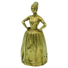 Antique French table bell in bronze by the sculptor Alexandre CHARPENTIER, Lady Bell, Art Nouveau, Circa 1900