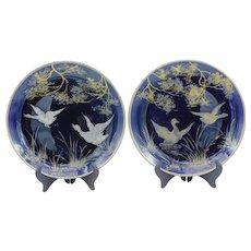 "Antique Pair of French decorative plates ""Envolée de Canards"", Hautin Boulenger & Cie, H&B, Faience Choisy-le-Roi, Moda,France, Hunting, early 20th century"