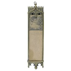 Antique Charles X Bronze Calendar, Neo-Gothic, 12 sheets dated 1835