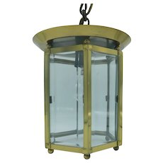 Hexagonal lantern in gilded brass with cut sides and bevelled glasses, French, PETITOT, Art Deco, Circa 1927