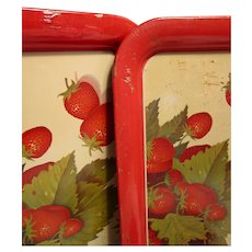 Vintage Tin Strawberry Picnic Trays