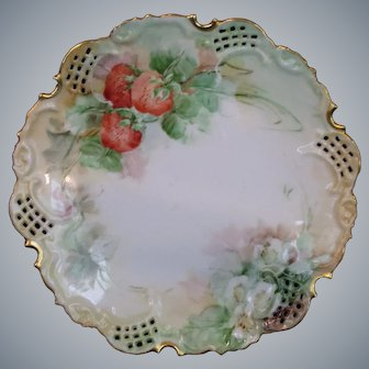 Beautiful Antique China Painted Strawberry Plate