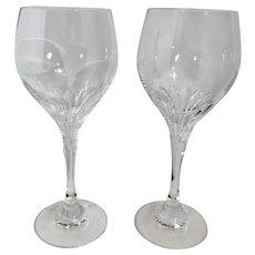 """Schott-Ziesel """"Revue"""" Oversized Water Goblet Clear Short Vertical cut Vintage Set of 2"""