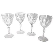 "Cristal D'Arques-Durand ""Washington"" Claret Wine Glasses 7"" tall Vintage Set of 4 glasses"