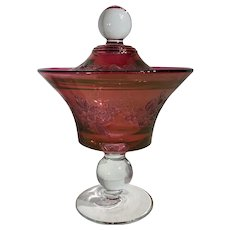 Cranberry Flash Lidded Candy Dish w/ lid Etched gold overly Ruby-Apple Red glass
