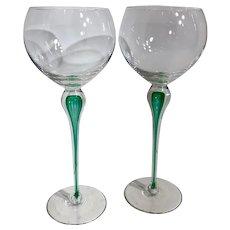 Mikasa Juilliard Emerald Tear Drop Tall Balloon Wine 10.25 Inch RARE Set of 2 wine goblets