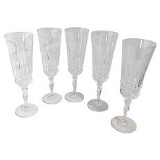 Champagne Fluted Toasting Glasses Cristal D'Arques-Durrand Villeneuve Vintage Set of 5