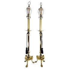 Brass Pair matching LAMPS Footed Candle stick shape Tall Table light claw foot