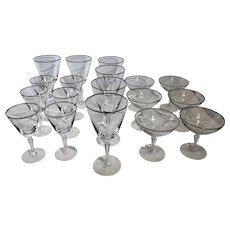 """Fostoria """"Engagement"""" Platinum Rim glasses Water / Dessert / Wine -8 -6 -5 Oz.- 18 Set"""