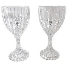 "Mikasa ""Park Lane"" WATER Glasses Blown 8 Oz. 6 3/4 Vertical cuts contemporary Set of 2"