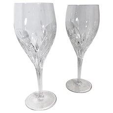 """Noritake """"Moondust"""" WINE Glass / Goblet Etched Plants / flower Vintage goblets - Set of 2"""