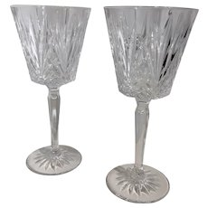 """Cristal D'Arques-Durand """"Venice"""" Water Goblet Crystal Glasses 7.5 inch Blown - 2 Set"""