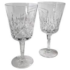 "Gorham ""King Edward"" Water Goblet Germany Hand Blown Vertical Cuts Vintage 8 Oz. - 2 Set"