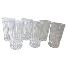 "Fostoria ""Heritage"" Clear Highball 10 Oz cut glass set Vertical cuts Beautiful - Set of 6"