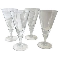 Water glasses 10 Oz. Clear Heavy 2 Wafer stem Set of 4