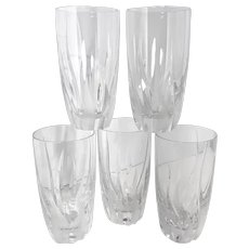 Flame D'Amore Mikasa Highball Blown Crystal Glasses Slovenia some Wear / Disc. set of 5