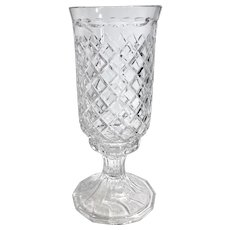 Candle Hurricane Cut Crystal Glass With Base Diamond pattern Heavy Beautiful set