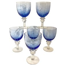 """Pavillion"" 6 Zrike Blue Water margarita glasses bubble Goblets Royal Cobalt Blue"