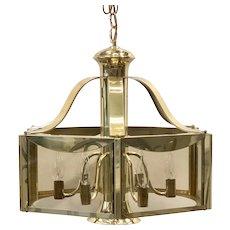 Fredrick Ramond 1977 Vintage MCM Brass hanging Chandelier Light Entry, ceiling