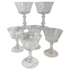"""Fostoria """"Dolly Madison"""" Cut glasses Tall Champagne / Sherbet Blown Vintage set of 6"""