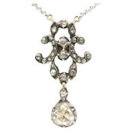 Rose diamond pendant in silver and 14 carat gold