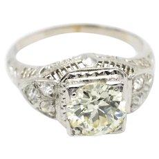 Art Deco old cut diamond ring in 14 carat white gold