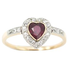 Ruby heart ring with diamonds in 18 carat gold
