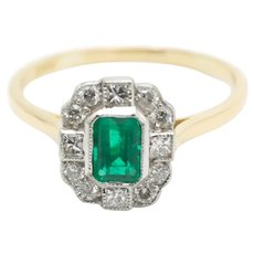 Emerald and princess cut diamond ring in 18 carat gold